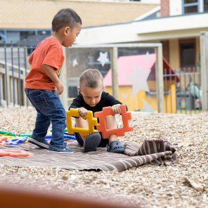 Construction play in outside